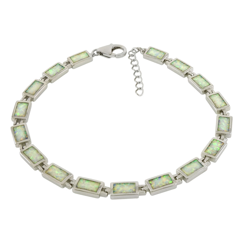 Sterling Silver Simulated White Opal Bracelet