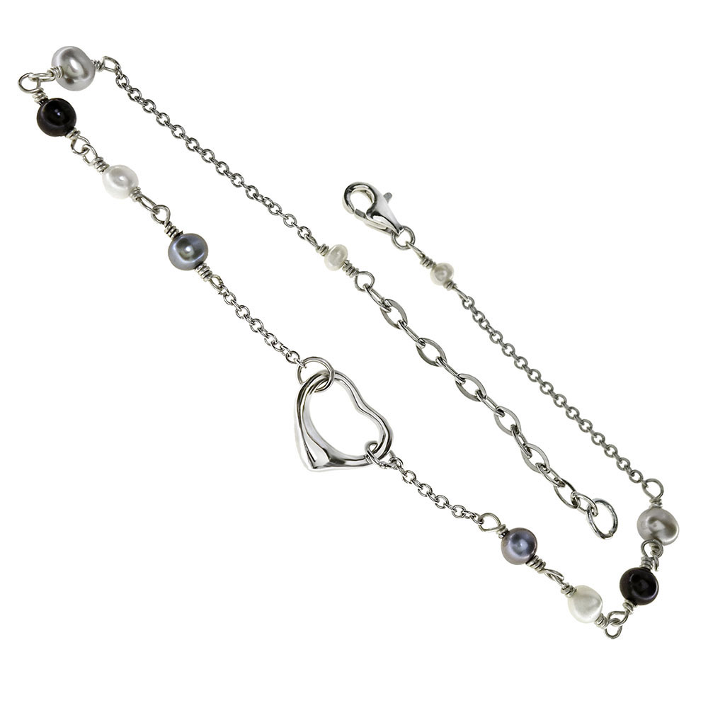 Sterling Silver Heart W. Fresh Water Pearl Rhodium Anklet