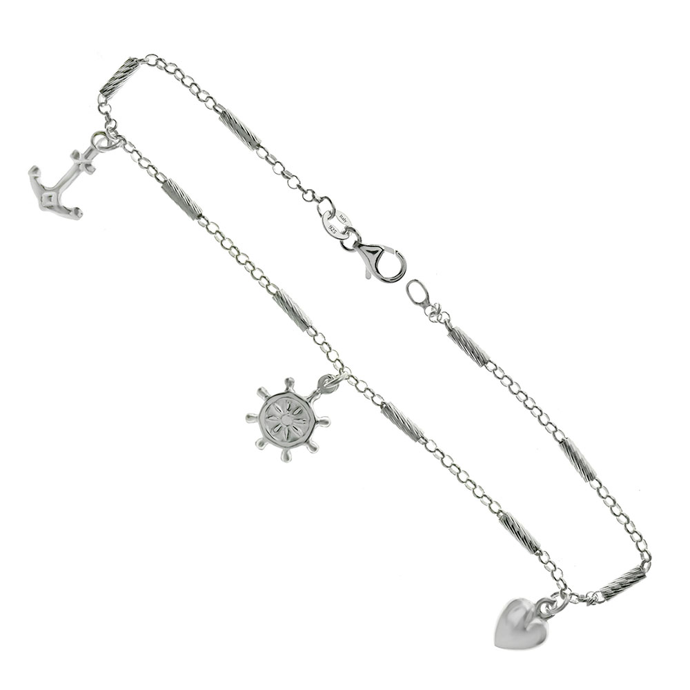 Italian Sterling Silver Fancy Chain W. Dangle Charms Anklet