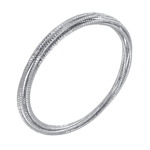 Sterling Sillver 5 Attached D/C Rhodium Bangle