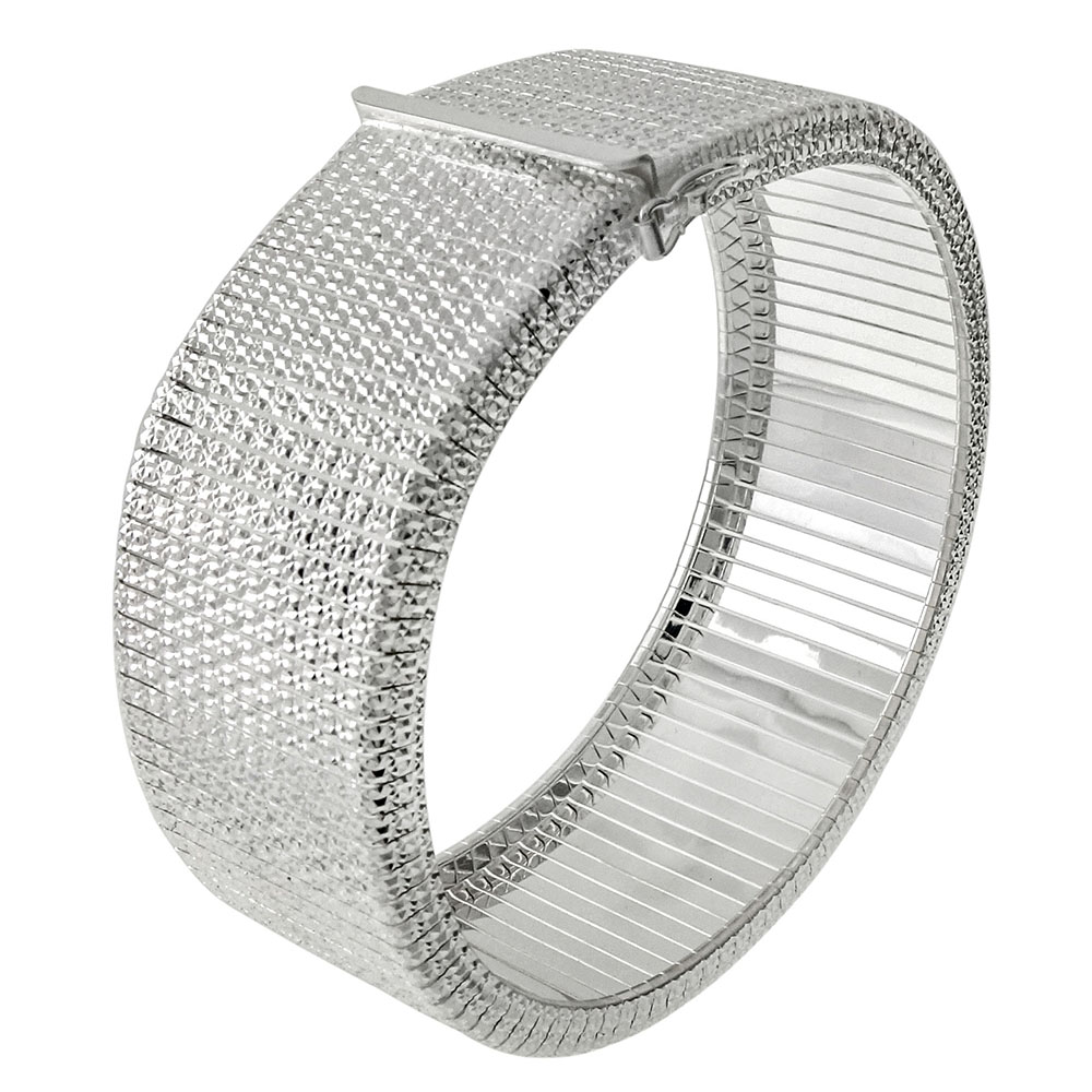 Italian Sterling Silver Square Cleopatra Bangle Bracelet