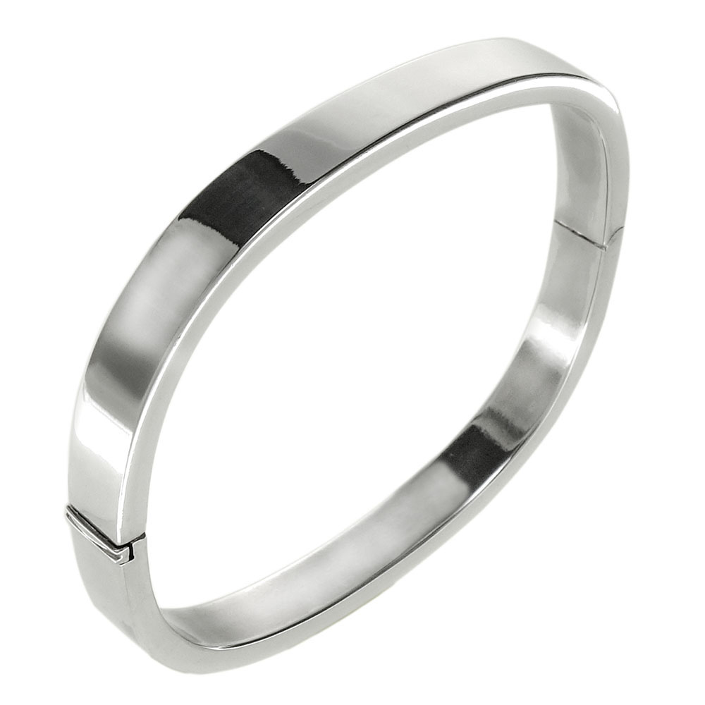 Sterling Silver Square Plain Bangle