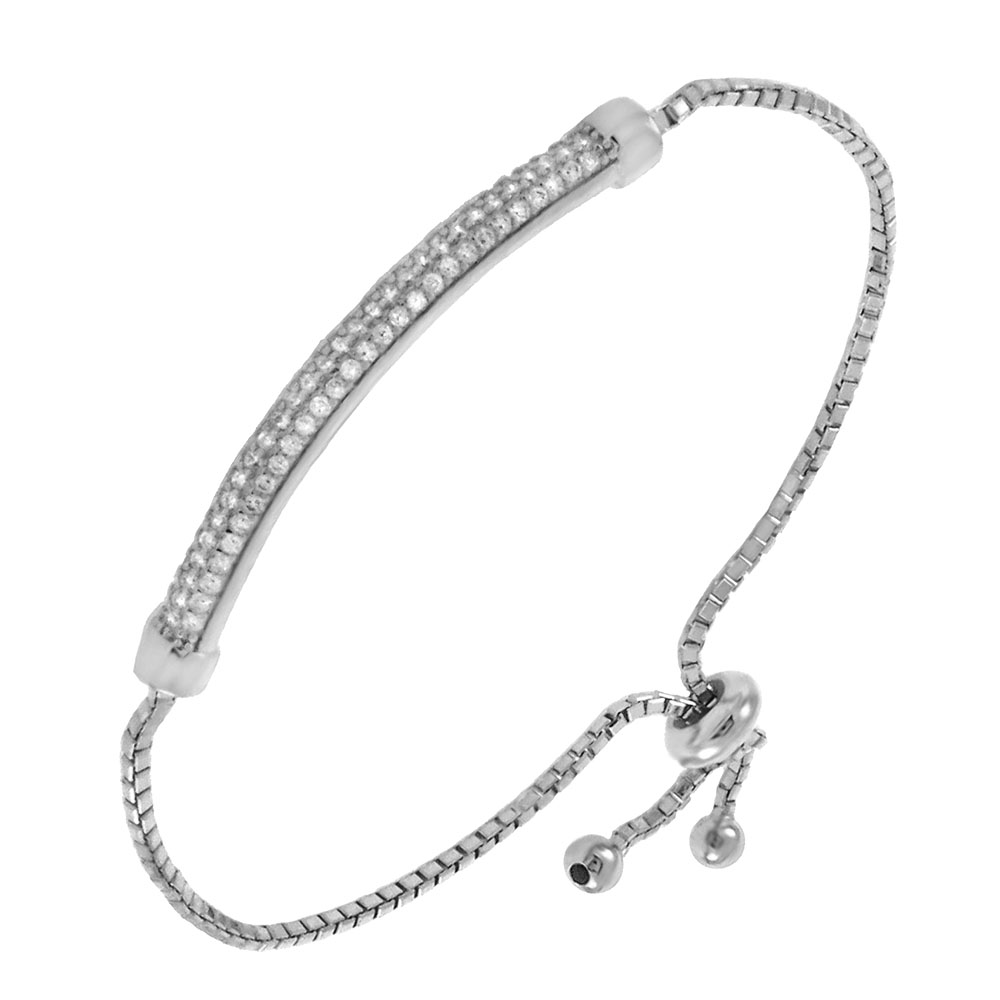 Sterling Silver Box Chain  W. Pave CZ Bar Adjustable Rhodium Bracelet