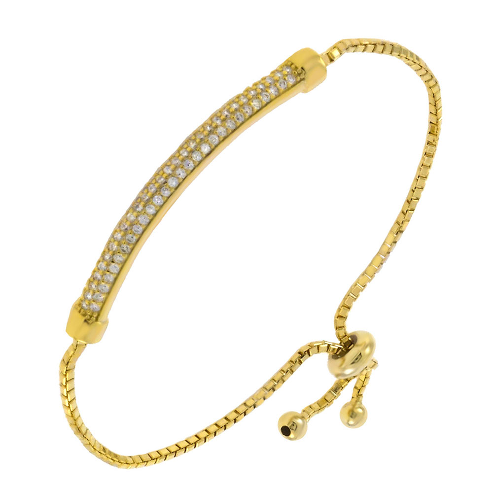 Sterling Silver Box Chain  W. Pave CZ Bar Adjustable Gold Plated Bracelet