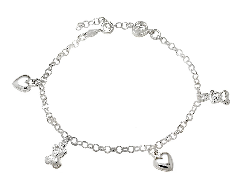 Sterling Silver Cubic Zirconia Horseshoes Bracelet