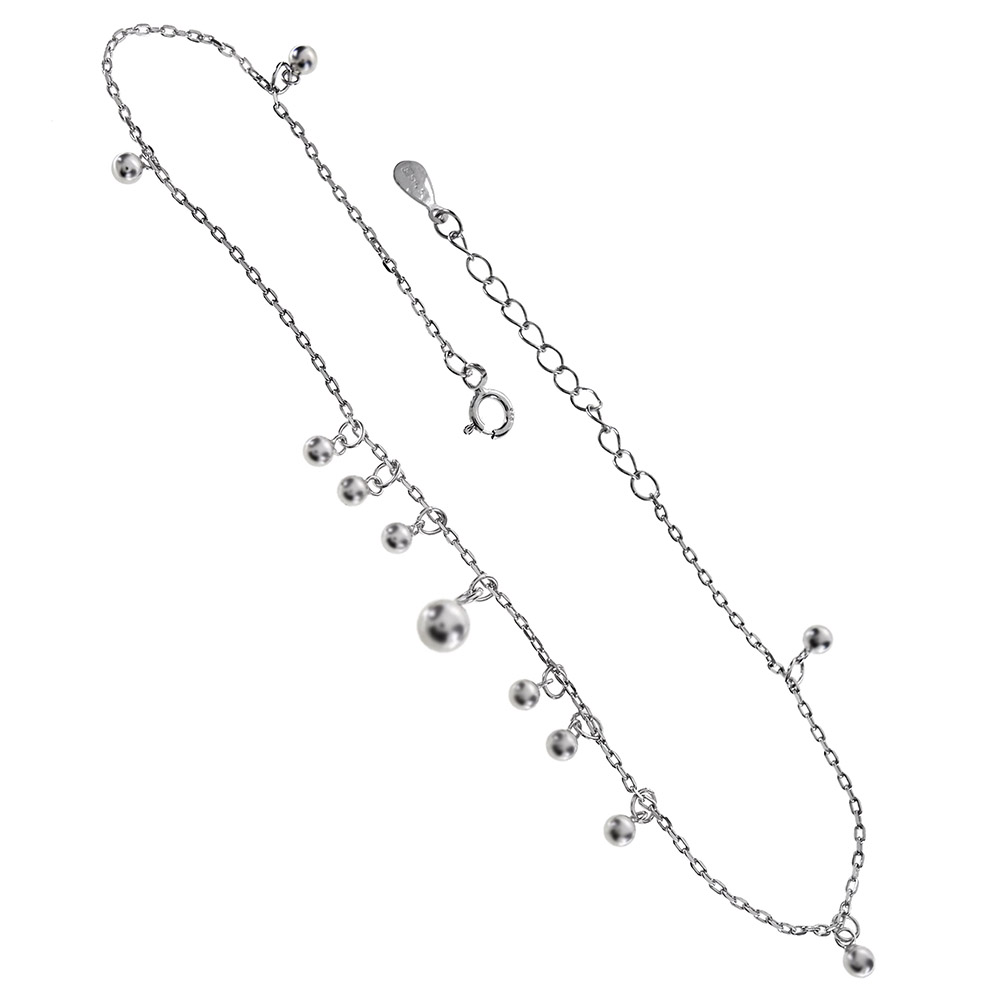 Sterling Silver Rolo D/C W. Dangle Beads Rhodium Anklet