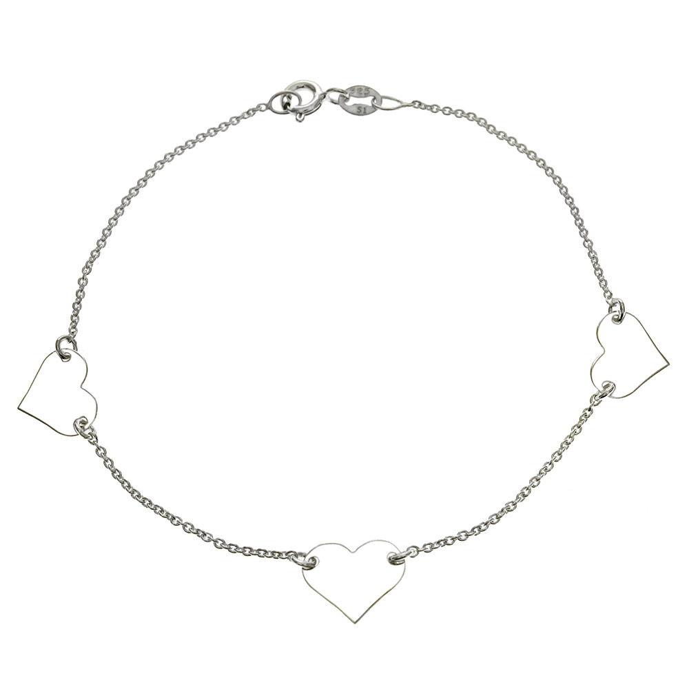 Italain Sterling Silver Three Hearts & Rolo Chain  Bracelet