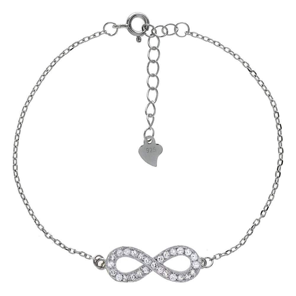 Sterling Silver CZ Infinity W. D/C Cable Chain Rhodium Bracelet