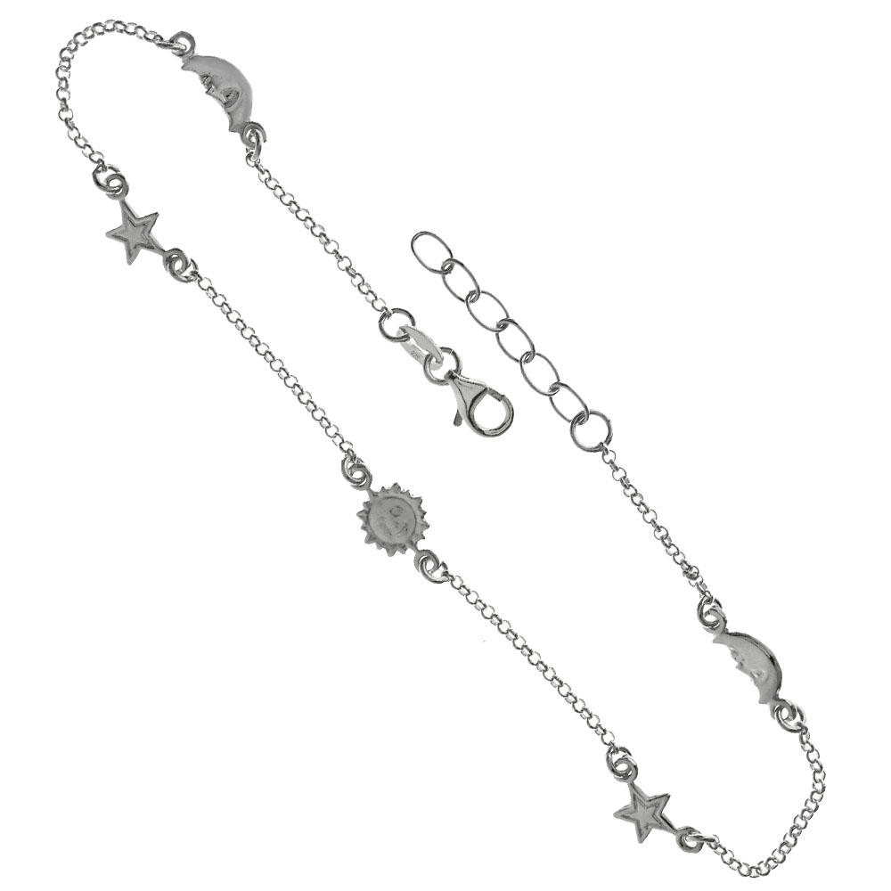 .925 Sterling Silver Rolo Sun- Moon-Star Anklet