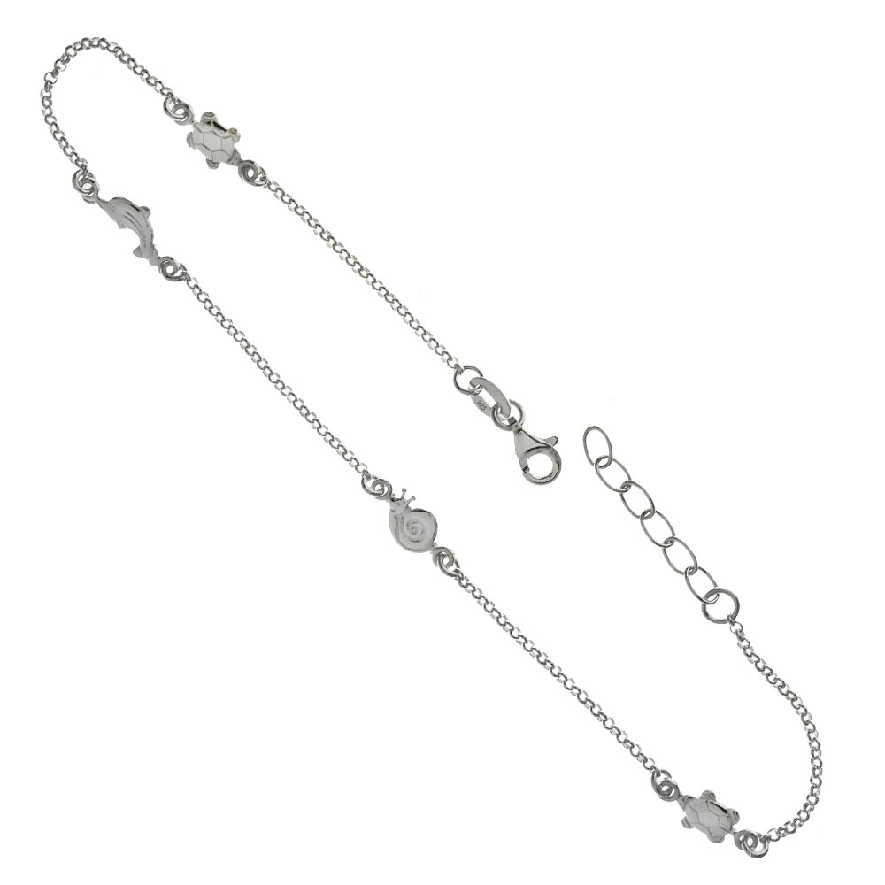 .925 Sterling Silver Turtle - Snail - Dolphin Anklet