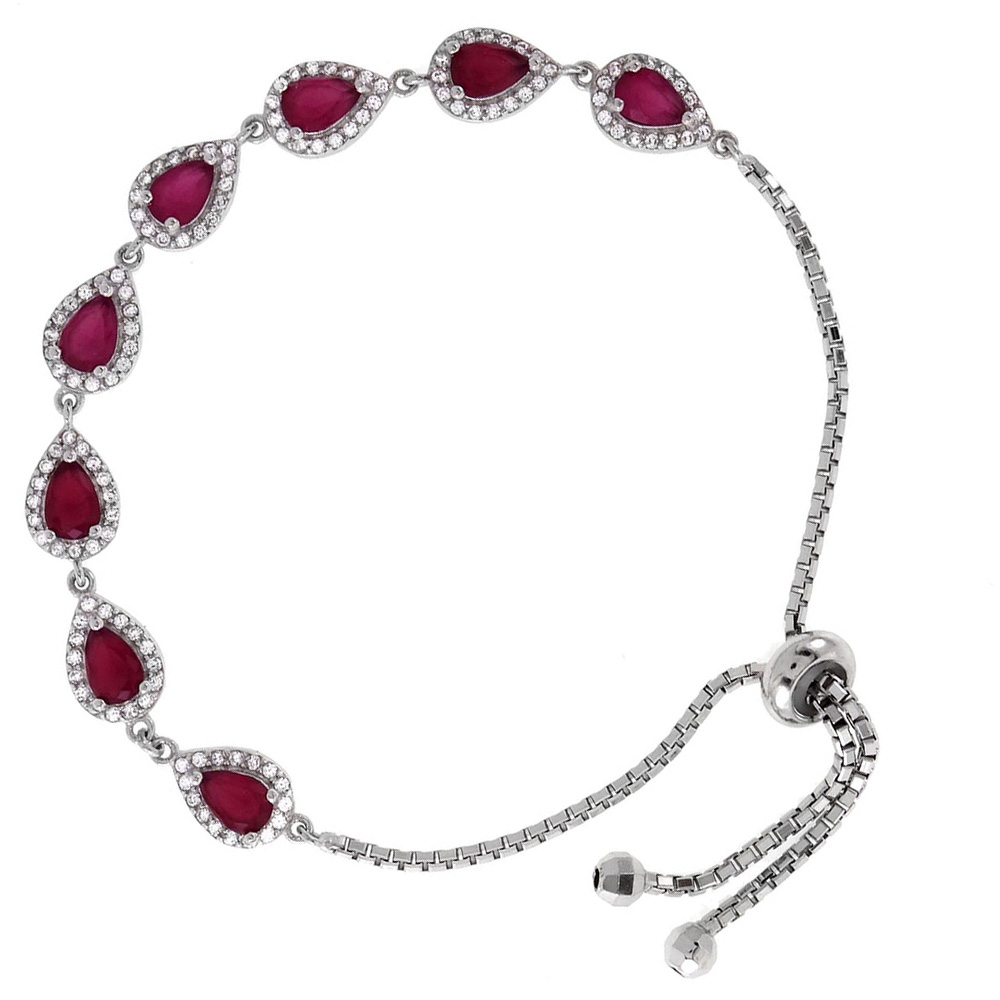 Sterling Silver Pear Shape CZ Fuschia Red Adjustable Bracelet