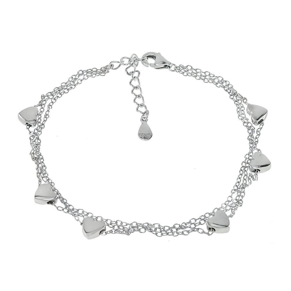Sterling Silver 3 Cable Strands W. Heart Rhodium Bracelet