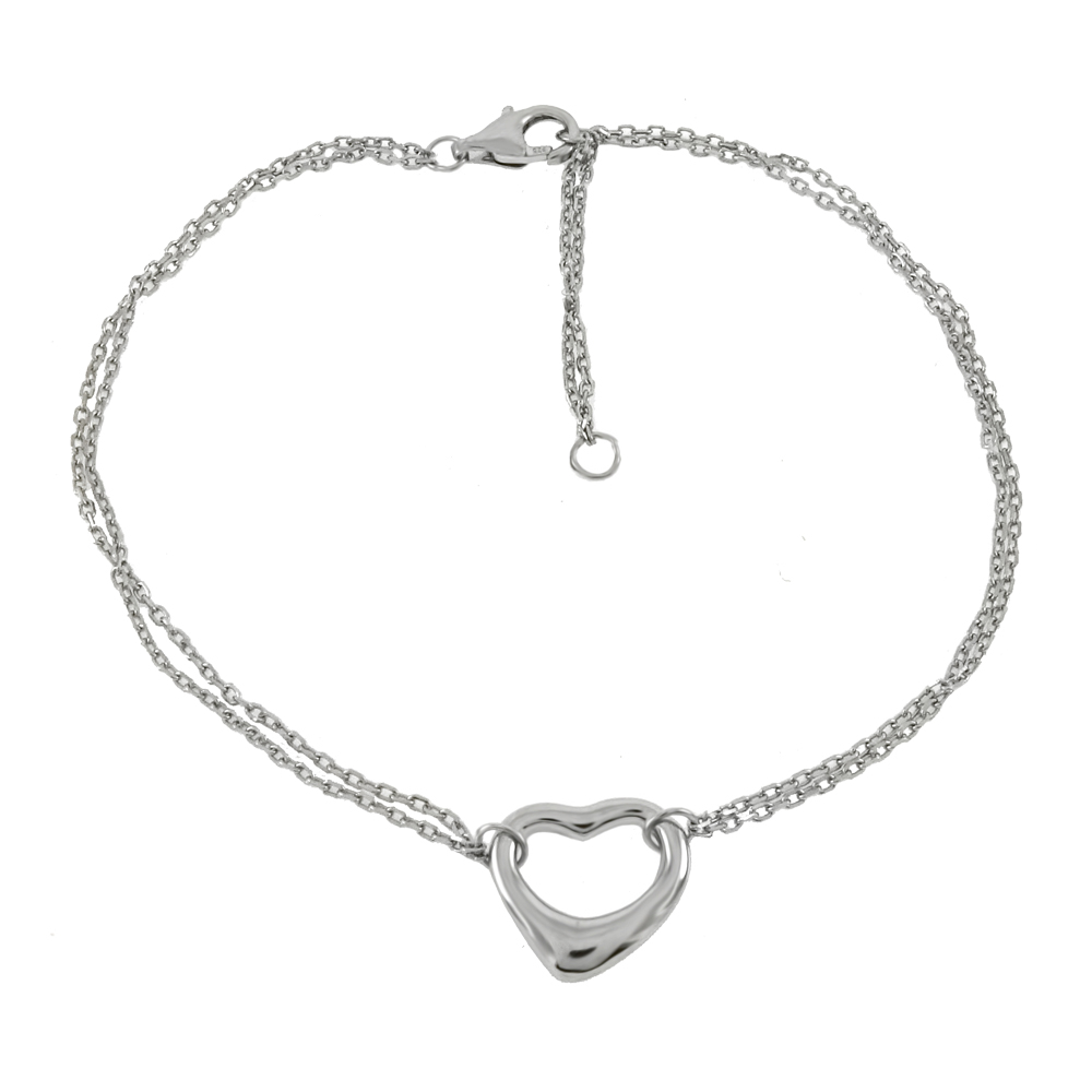 Sterling Silver Floating Heart W. 2 Strands Rolo D/C Rhodium Bracelet