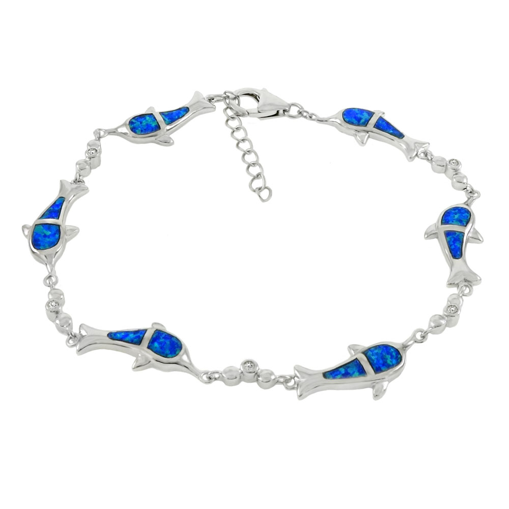 Sterling Silver Simulated Blue Opal Dolphin W. CZ Bracelet
