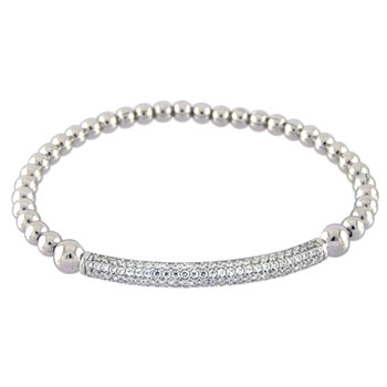Italian Sterling Silver Stretching Bead W/ Micro Pave CZ Rhodium Bracelet