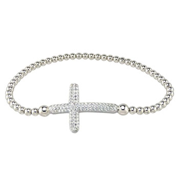 Italian Sterling Silver Stretching Bead W/ Micro Pave CZ Cross Rhodium Bracelet