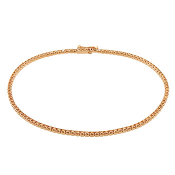 Sterling Silver Light Chocolate CZ Tennis Rose Gold Plated Bracelet