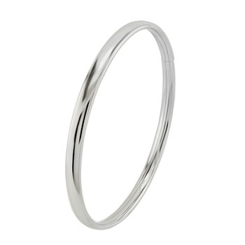 Sterling Silver 5mm Oval Tube Rhodium Bangle
