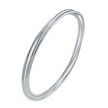 Sterling Silver Triple Band Rhodium Bangle