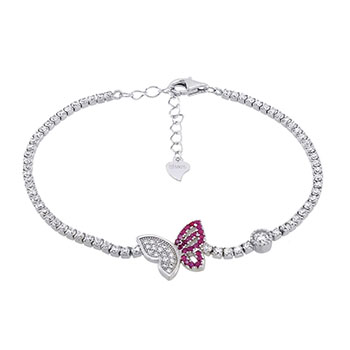 Sterling Silver Red & White CZ Butterfly Bracelet