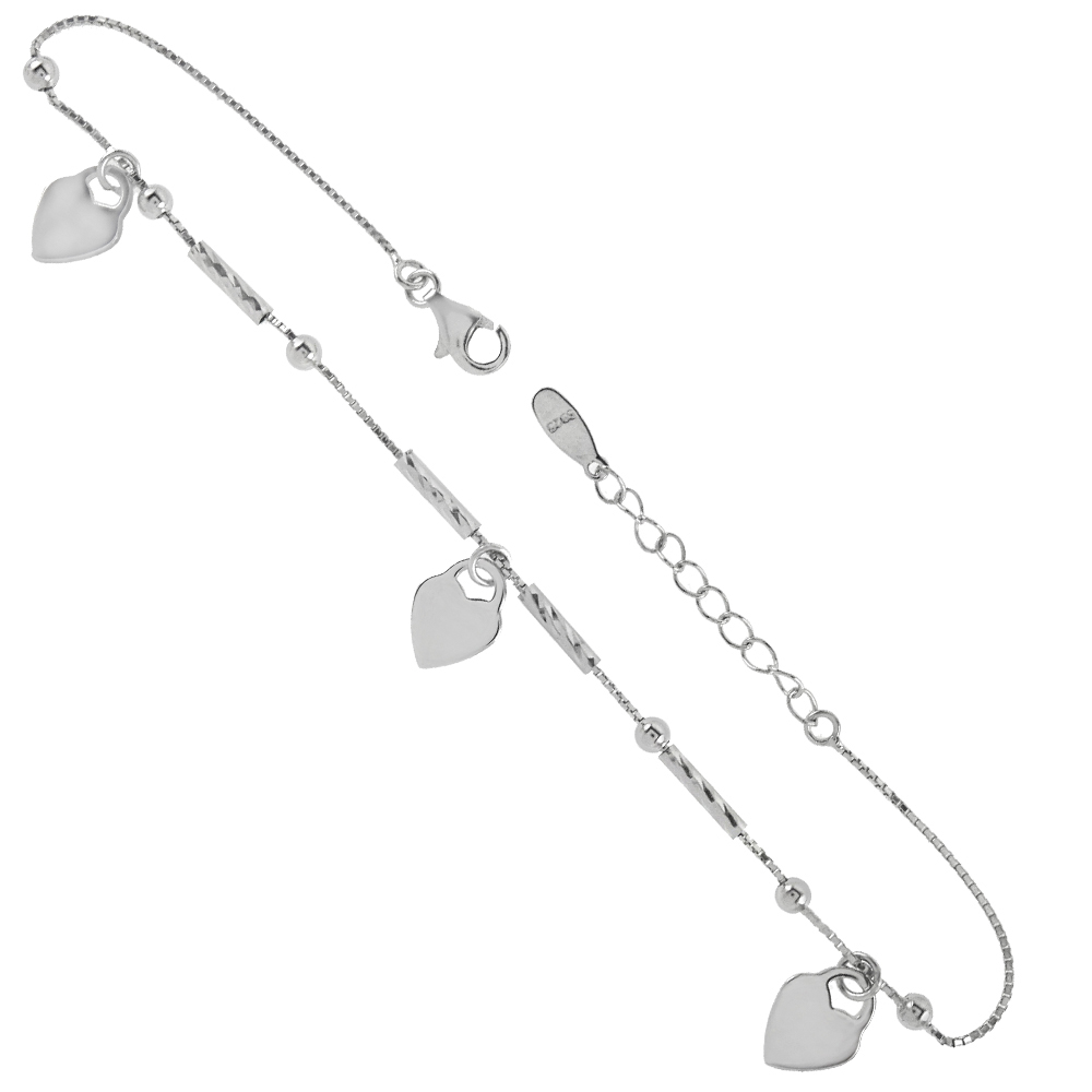 Sterling Silver Fancy Box Chain W. Dangle Heart Anklet
