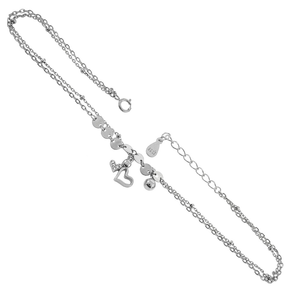 Sterling Silver 2 Strands W. CZ Heart Charm & Bead Rhodium  Anklet
