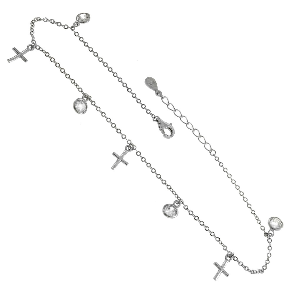 Sterling Silver Dangle Cross & Bezel Round CZ Rhodium Anklet