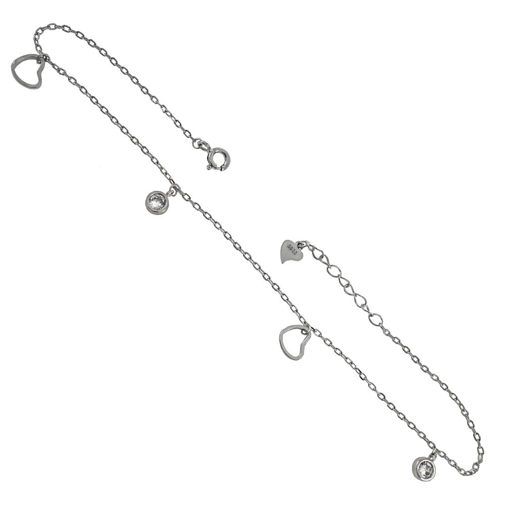 .925 Sterling Silver Floating Heart & Bezel Setting CZ Rhodium  Anklet