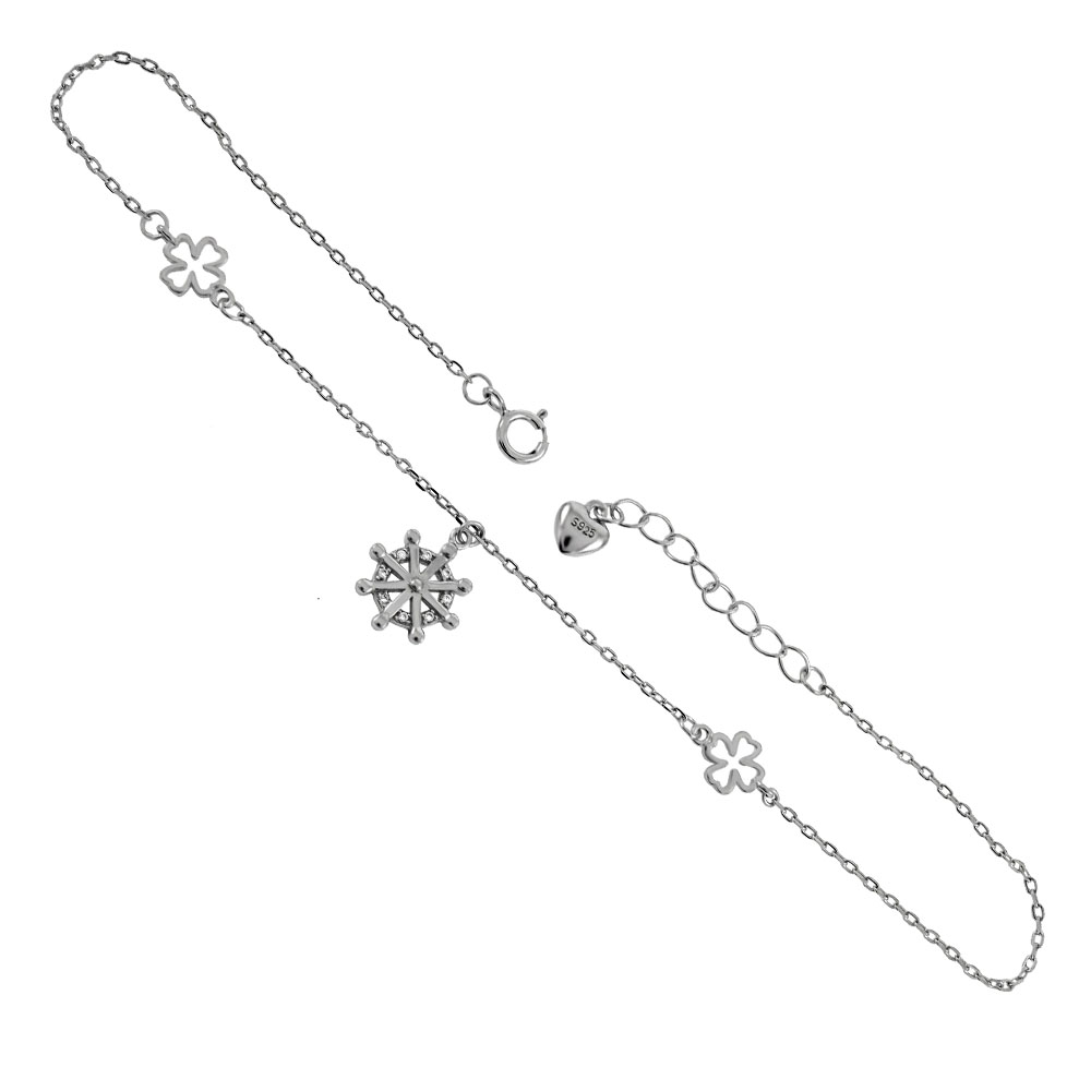 .925 Sterling Silver Cubic Zirconia Starburst Dangle Rhodium Anklet