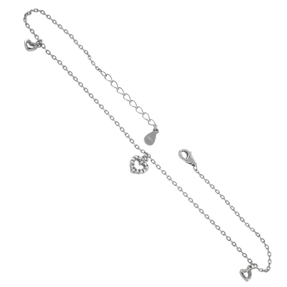 .925 Sterling Silver Rolo D/C Dangling Heart Rhodium Anklet