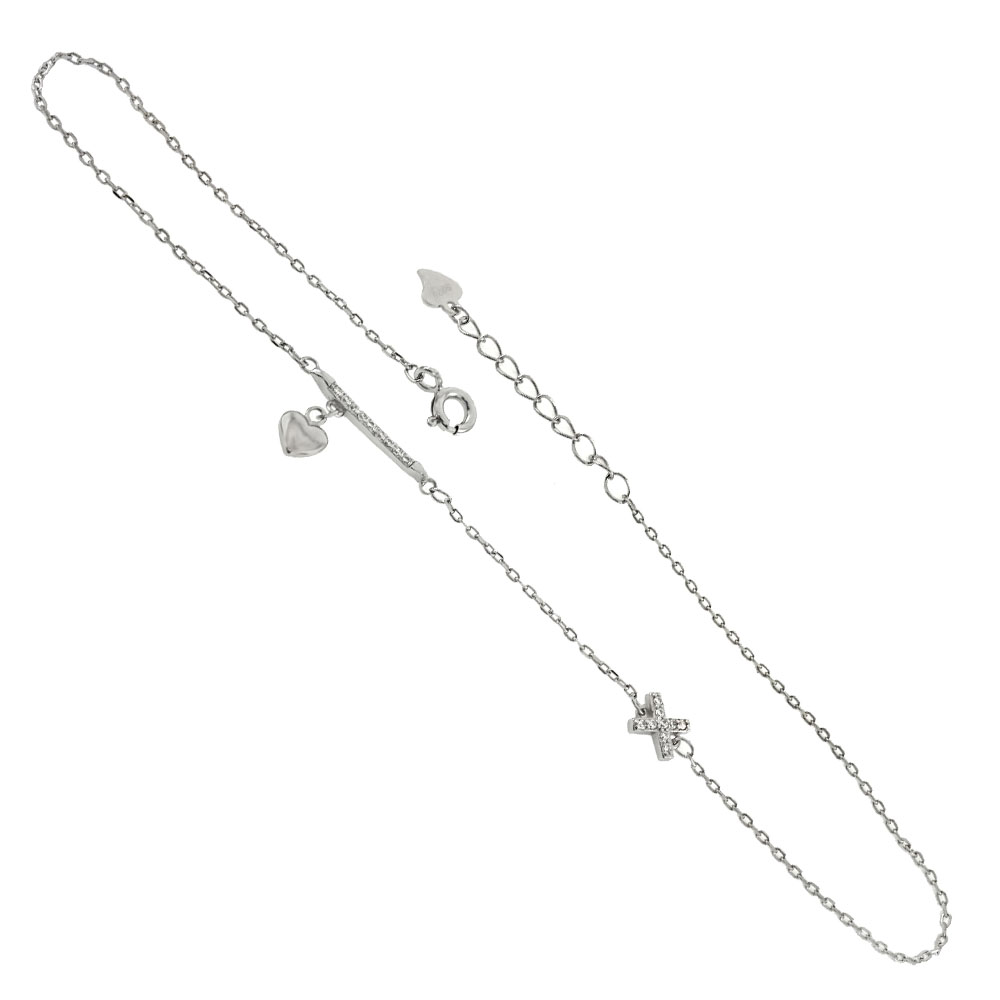 Sterling Silver CZ Bar & X W. Dangle Heart Rhodium Anklet