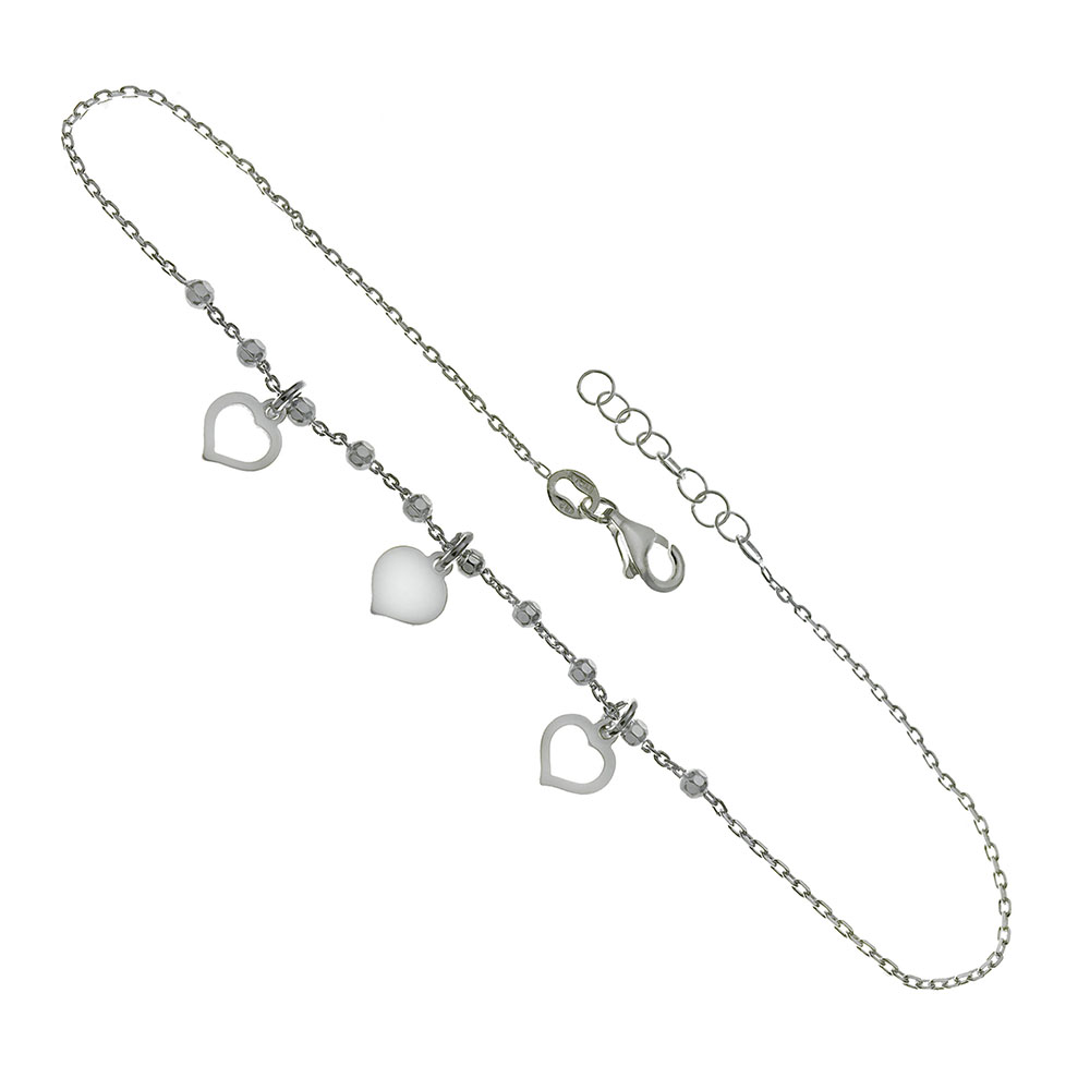 Italian Sterling Silver Heart Charms W. Rolo D/C Beads Anklet