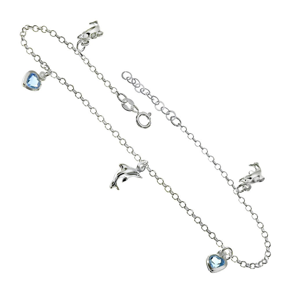 Italian Sterling Silver Austria Crystal Heart & Dolphin Charms Anklet