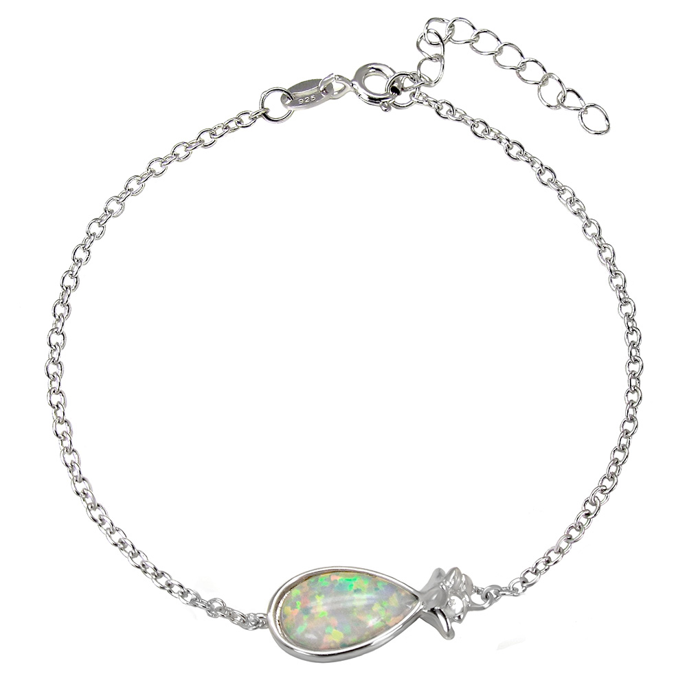 Sterling Silver Simulated white Opal Pineapple Rhodium Bracelet
