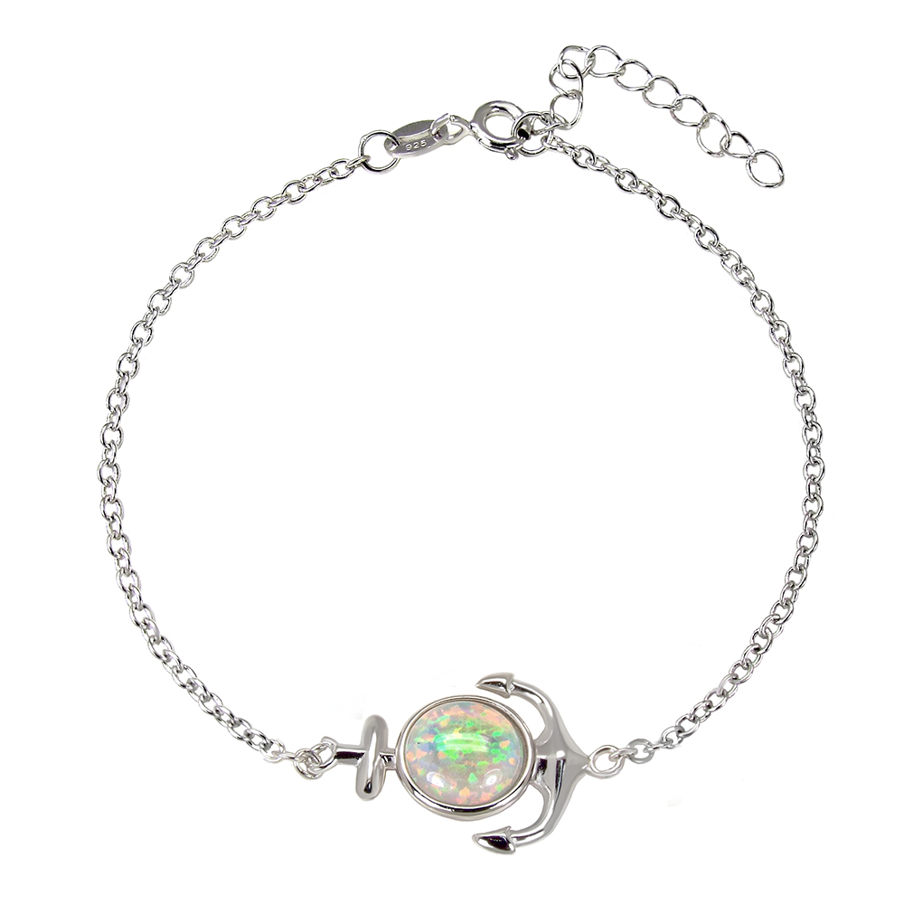 Sterling Silver White Simulated Opal Anchor Bracelet