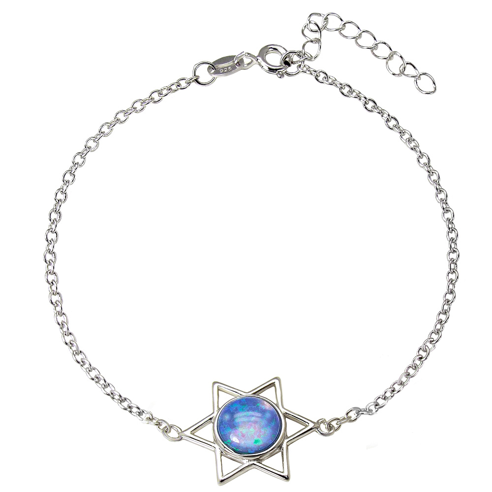 Sterling Silver Star of David Blue Simulated Opal Bracelet