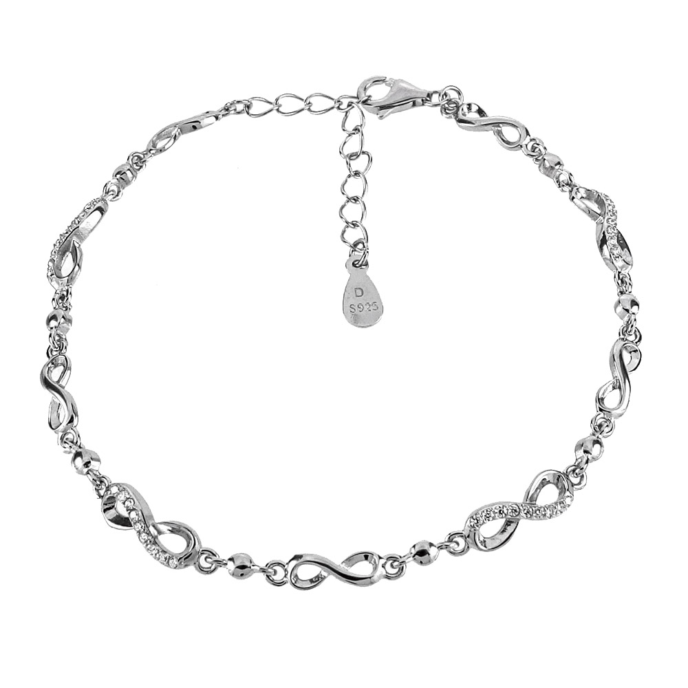 Sterling Silver Infinity Cubic Zirconia Rhodium Bracelet