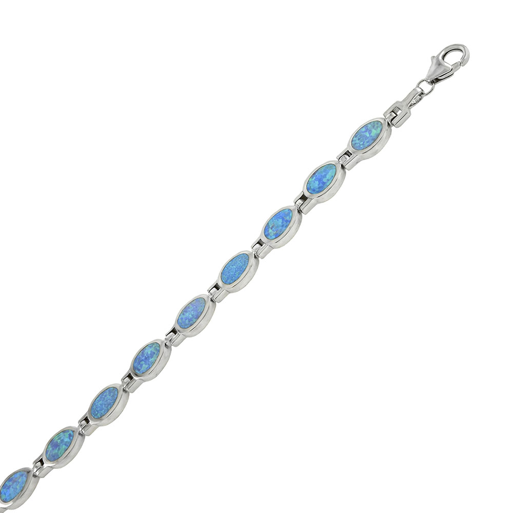 Sterling Silver Oval Simulated Blue Opal Bracelet