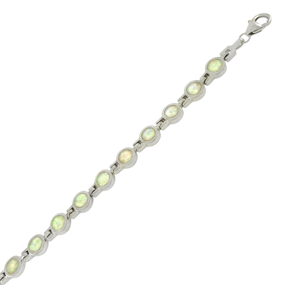 Sterling Silver Round Simulated White Opal Bracelet