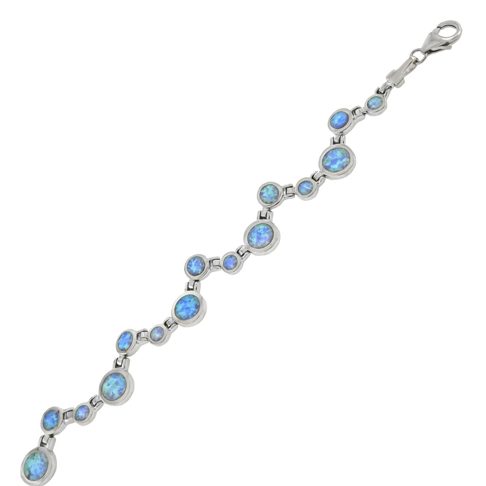 Sterling Silver Zigzag Simulated Round Blue Opal Bracelet