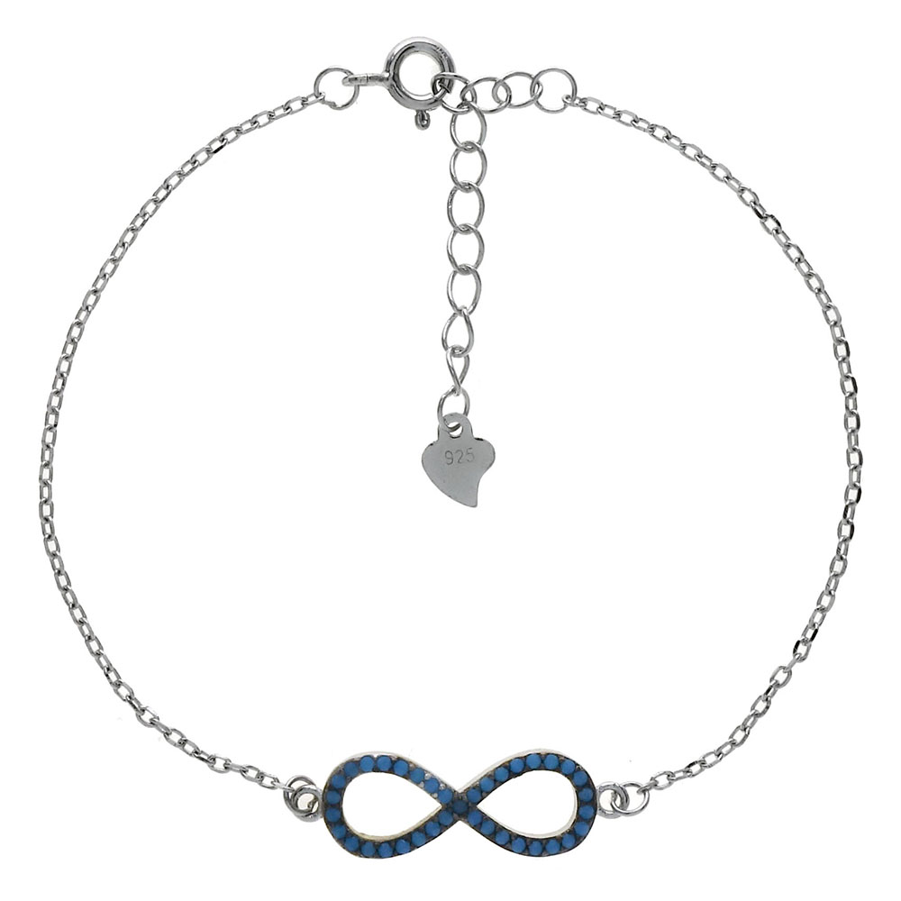 Sterling Silver Nano Stone Infinity W. Cable D/C Rhodium Bracelet