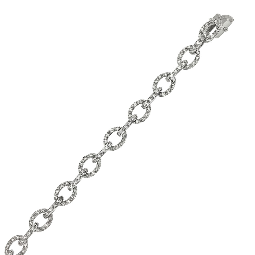 Sterling Silver Anchor Cubic Zirconia Bracelet