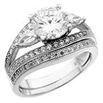 Sterling Silver Micro Pave Round CZ Rings Set