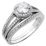 Sterling Silver Cubic Zirconia Wedding Ring Set