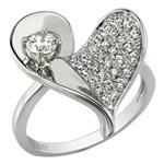 Sterling Silver Micro Pave-Set Heart Shape Grade AAA Round CZ Ring